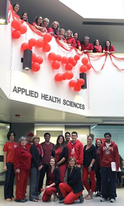 Applied Health Sciences folks dressed in red for the United Way.