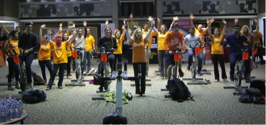 A spinning session takes place in the Student Life Centre.