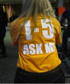 """A woman wearing an orange shirt that says """"ask me"""" on the back."""