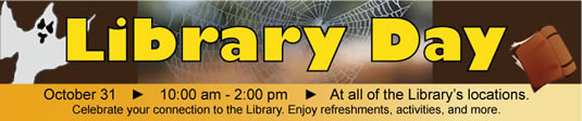 Halloween-themed Library Day banner.