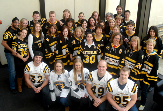 """Office of Advancement celebrating """"Jersday Thursday"""" in support of the United Way campaign and showing their Warrior pride."""