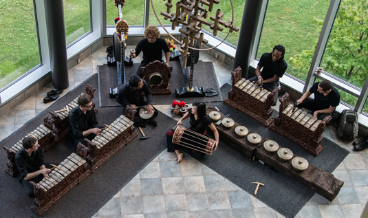 An overhead view of the UW Gamelan Ensemble.