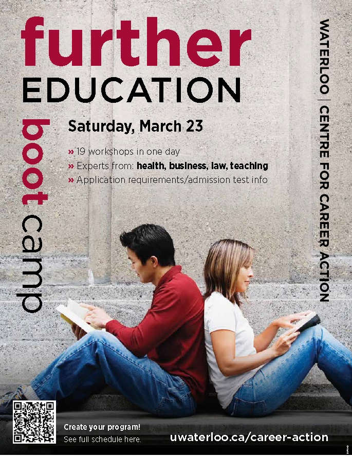Further education boot camp poster showing two students back to back.