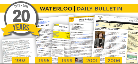 A collage of Daily Bulletins from 1993 to 2006 showing major format changes.