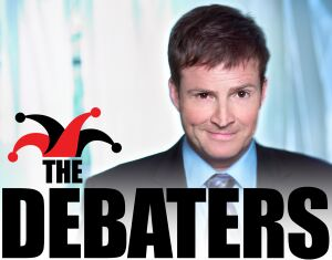 The Debaters logo, including a jester cap.