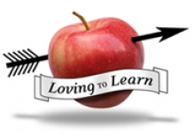 Loving to Learn Day logo, featuring an arrow piercing an apple.