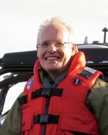 Professor Robert Park, wearing a life jacket.