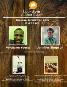 Bookstore event poster.