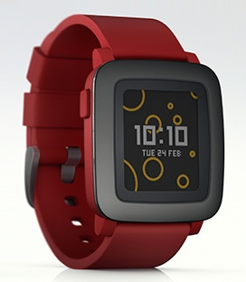 A Pebble Time smartwatch.